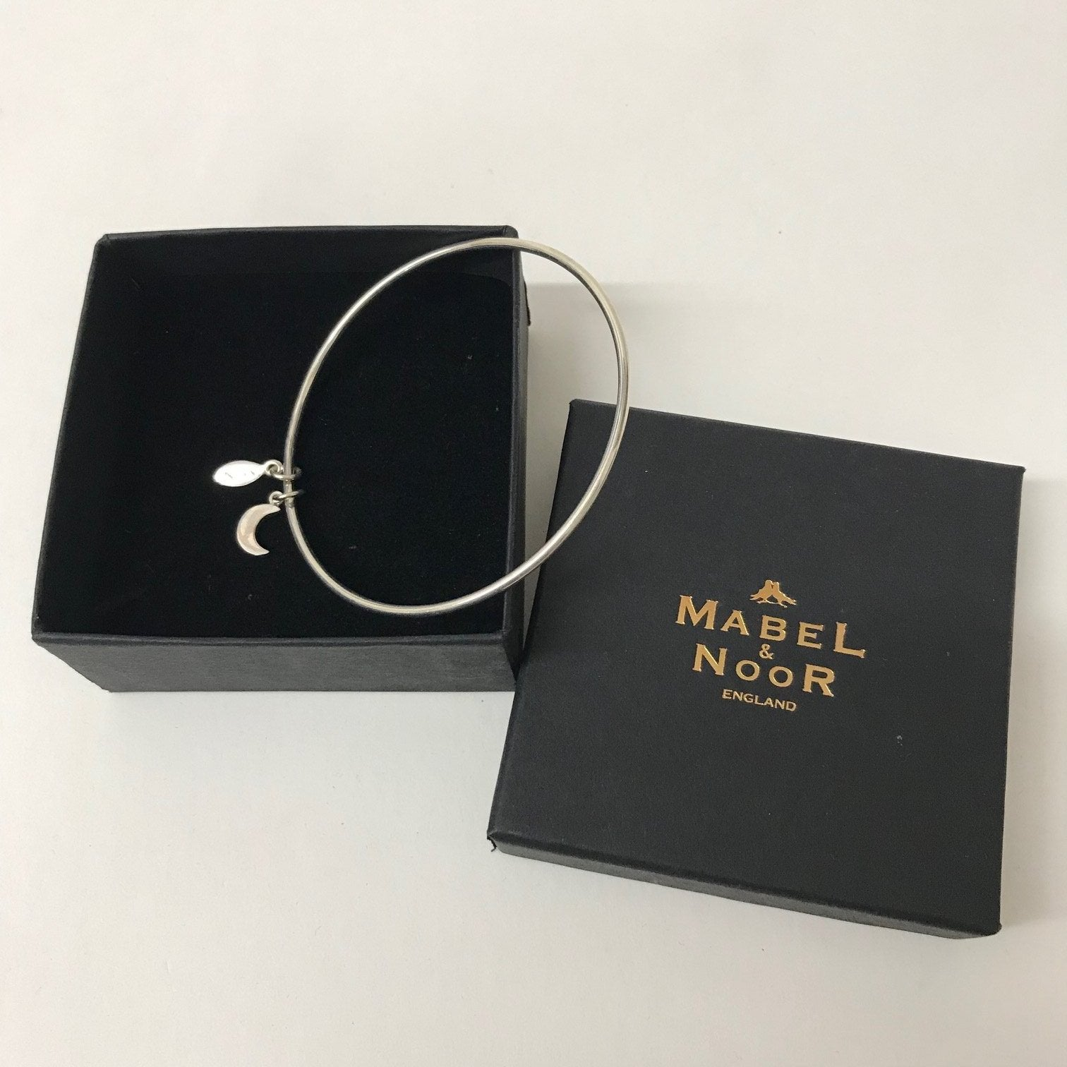 Mabel & Noor Silver Jewellery - Silver Half Moon Bangle