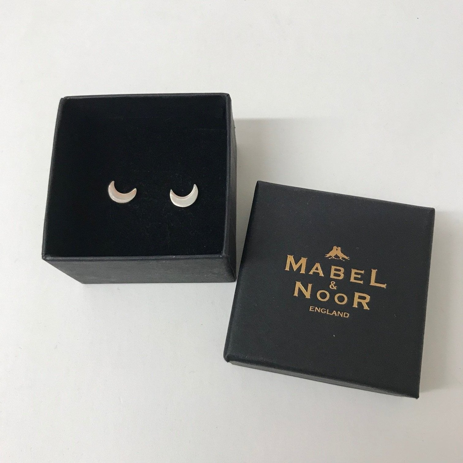 Mabel & Noor Silver Jewellery - Silver Half-Moon Stud Earrings