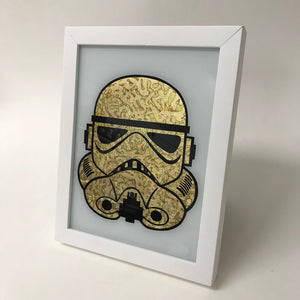 Framed Gilded and Burnished Gold Stormtrooper