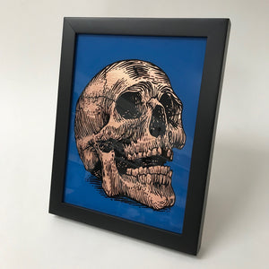 Framed Gilded copper Skull