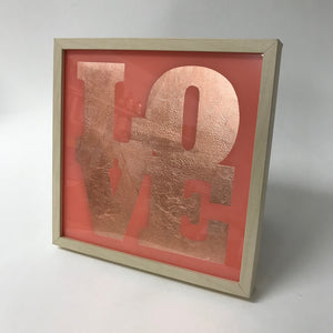 Framed Love sign with Gilded copper