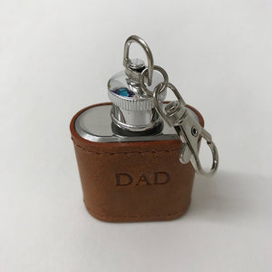 Brown Leather Hip Flash Keyring