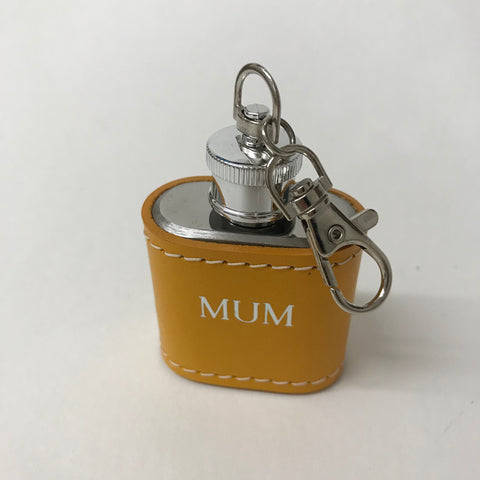 Mustard Leather Hip Flash Keyring