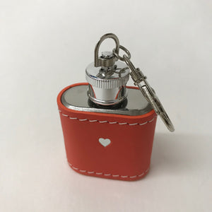 Coral Leather Hip Flash Keyring