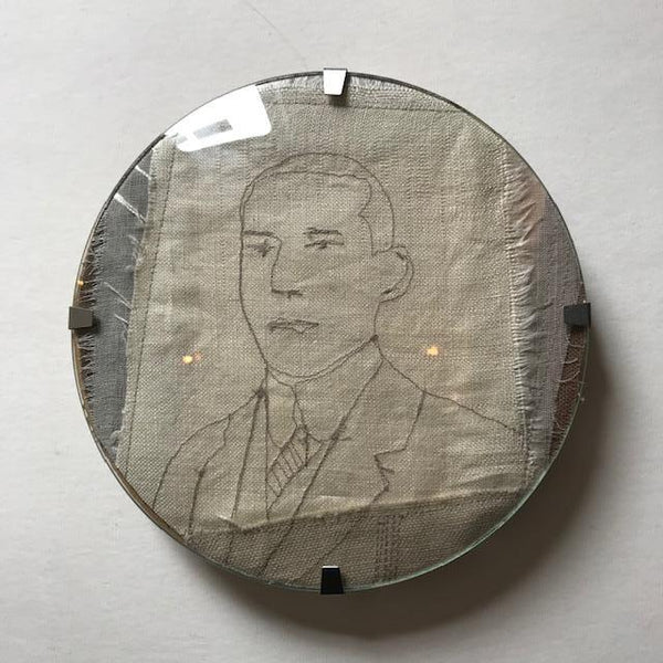 Textile Art in Circular Convex Glass Frame