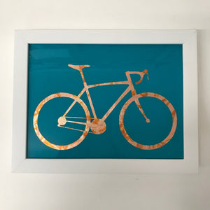 Framed Gilded Copper Bicycle