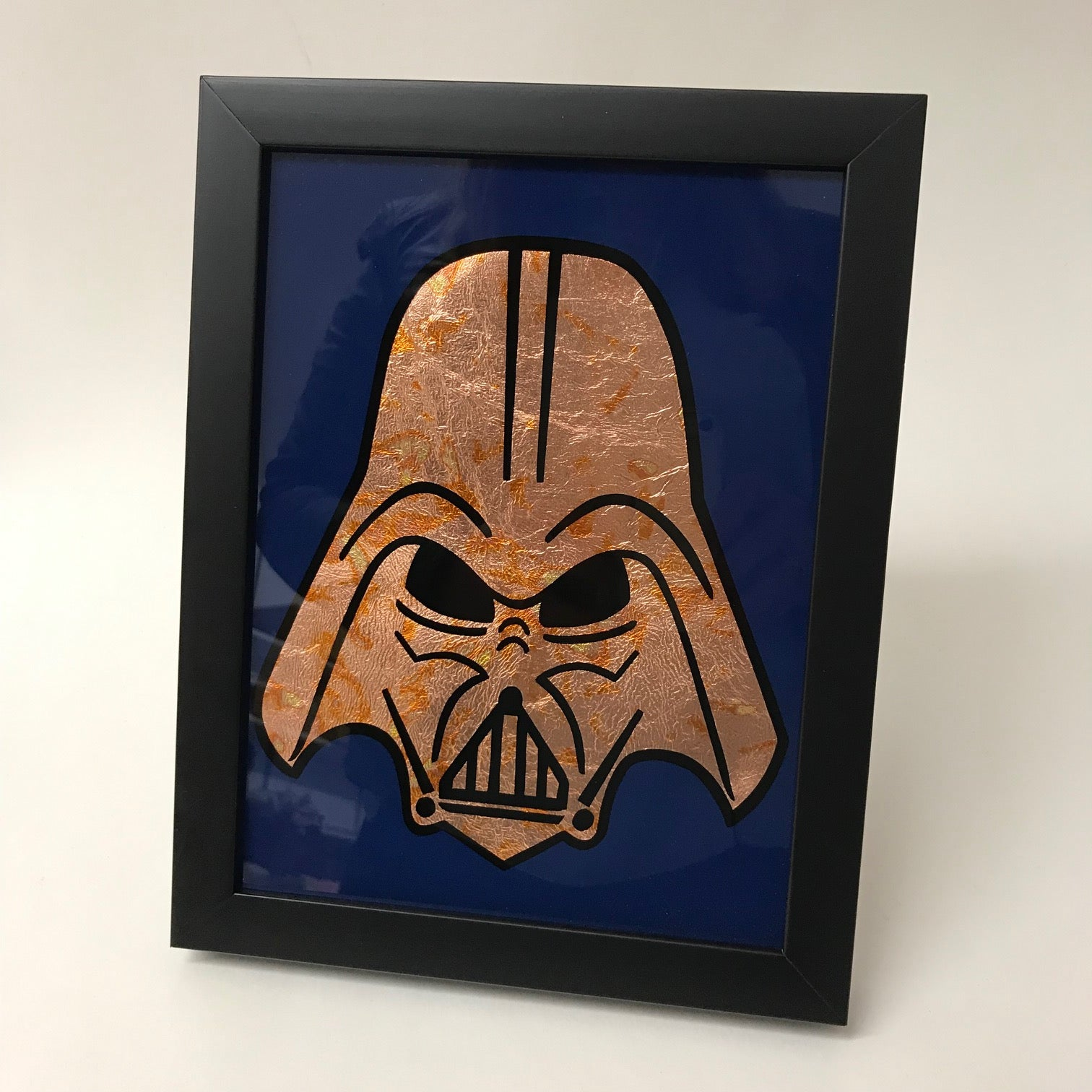 Framed Gilded Copper Darth Vader