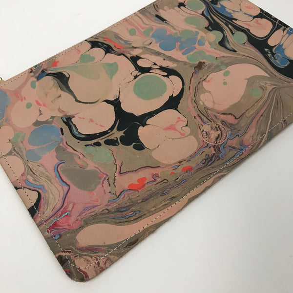 Large Marbled Zip Clutch Bag