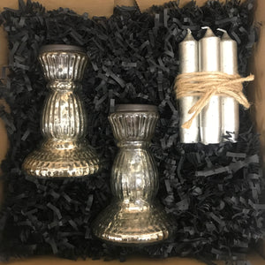 Silver Glass Candlestick Gift Box