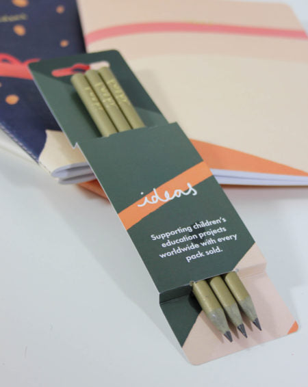 Recycled Gold Pencils in Green Ideas Sleeve