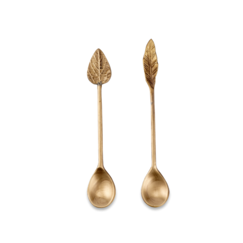 Leaf Brass Spoons Set of 2