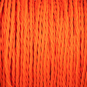 Twisted lighting cable - Matt orange braided fabric