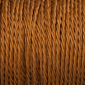 Twisted lighting cable - Old Gold Braided fabric