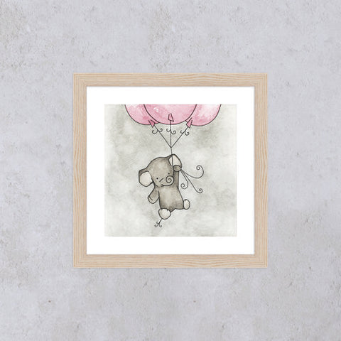 Little Elephant Square Print - Pink