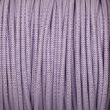 Round lighting cable - Purple & White braided fabric