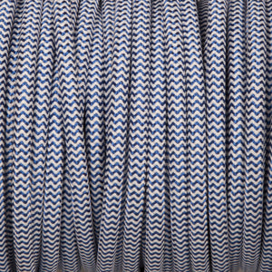 Round lighting cable - Royal blue & white braided fabric