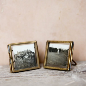 Mini Antique Brass Standing Photo Frame (set of 2)