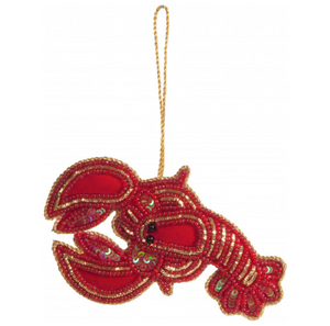 Hand Embroidered Lobster Decoration