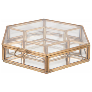 Hexagonal Glass & Brass Box