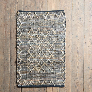 Leather Diamond Weave Rug