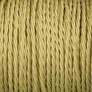 Twisted lighting cable - Tisane light green braided fabric