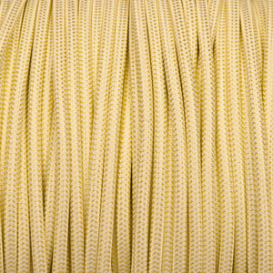 Round lighting cable - Tisane light green & white braided fabric