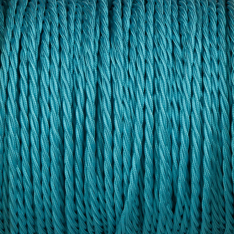 Twisted lighting cable - Turquoise blue braided fabric