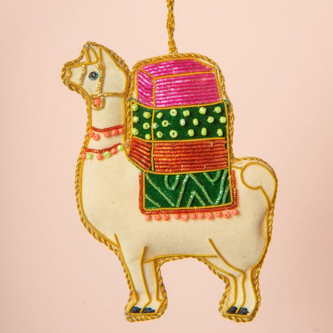 Hand Embroidered Llama Decoration