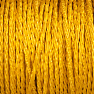 Twisted lighting cable - Yellow braided fabric