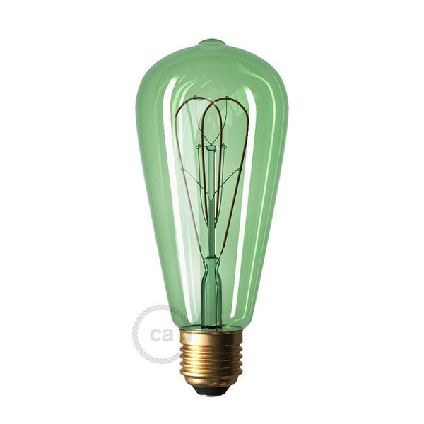 LED Edison Curved Double Loop Filament Bulb E27 5 watt Emerald