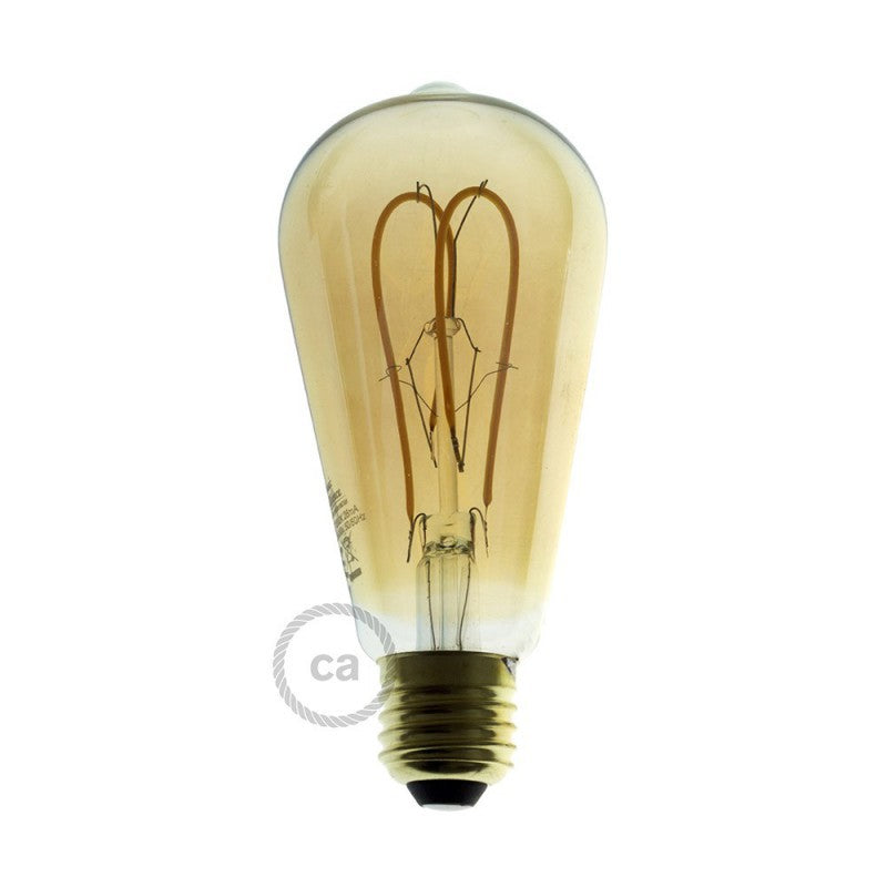 LED Edison Curved Double Loop Filament Bulb E27 5 watt Gold