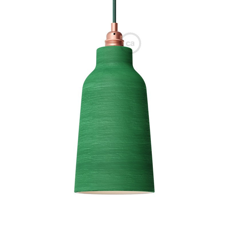 Washed Emerald Green Bottle Shaped Ceramic Lampshade