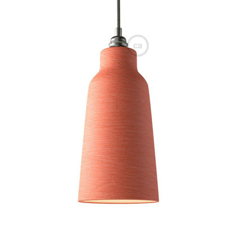 Washed Coral Bottle Shaped Ceramic Lampshade