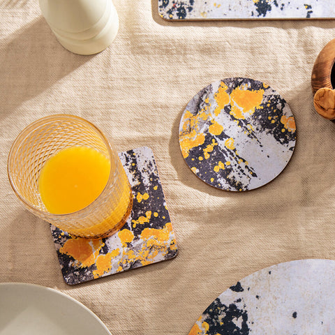 Charcoal Grey and Yellow, Coaster - 'Nomad Splash'