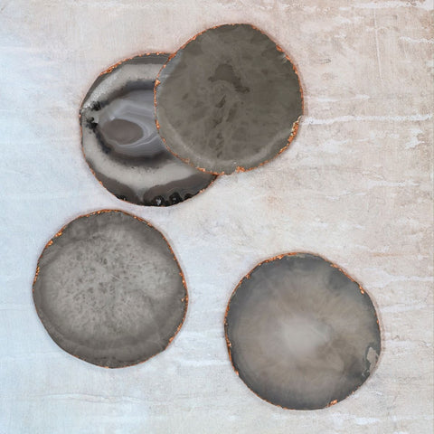 Agate coasters (set of 4) - grey