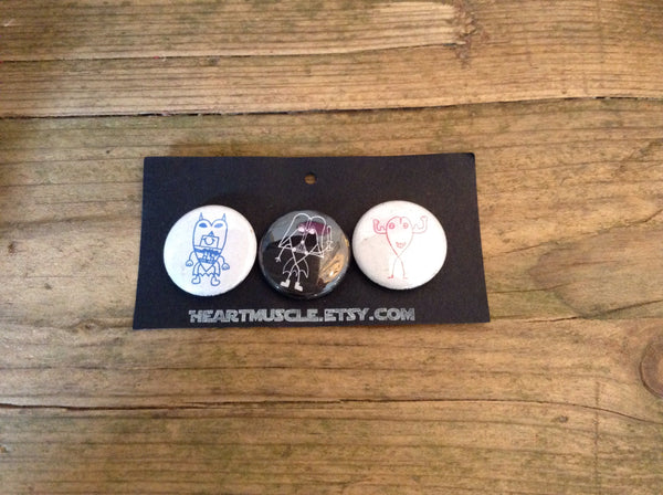 Heart Muscle Badges set of 3