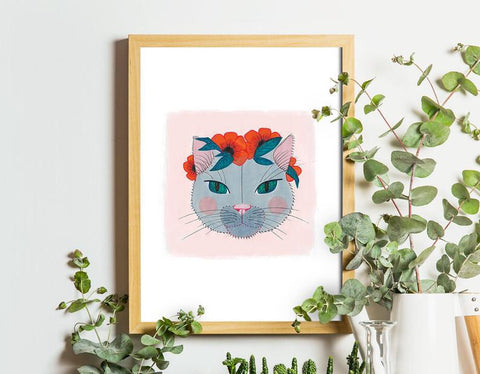 Cat with flowers A5 art print