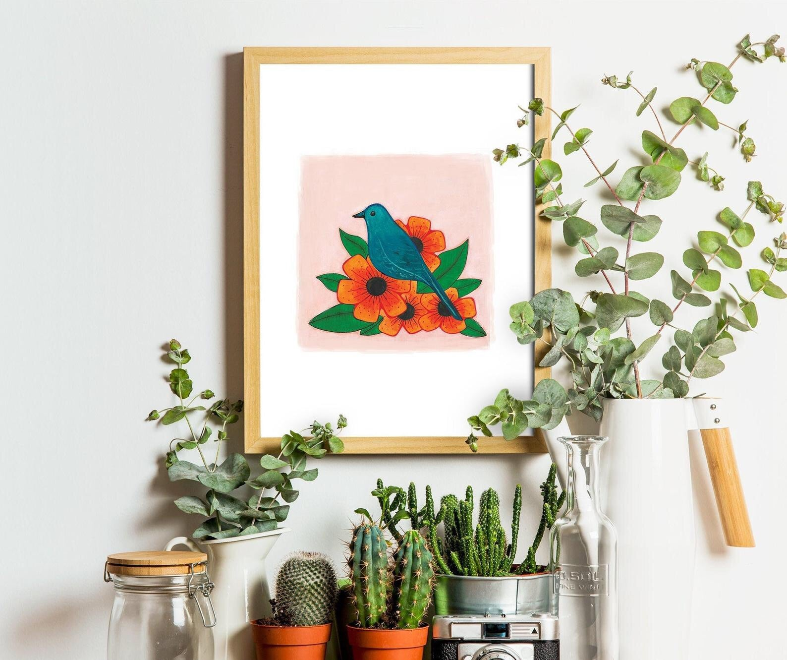 Bird with flowers A5 art print