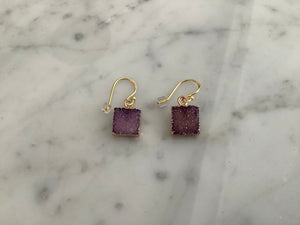 Gold vermeil earwires with purple drusy quartz squares