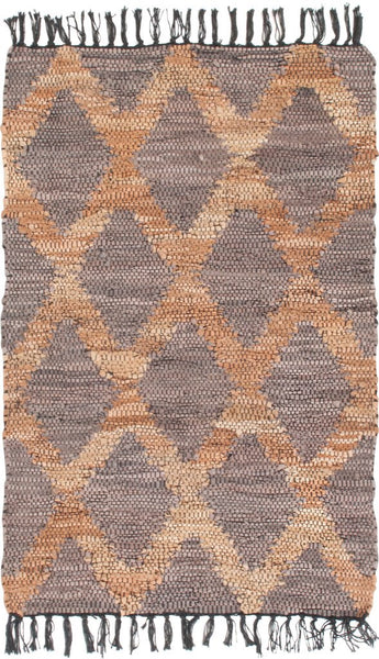 Grey and Beige Recycled Leather Handwoven Rug
