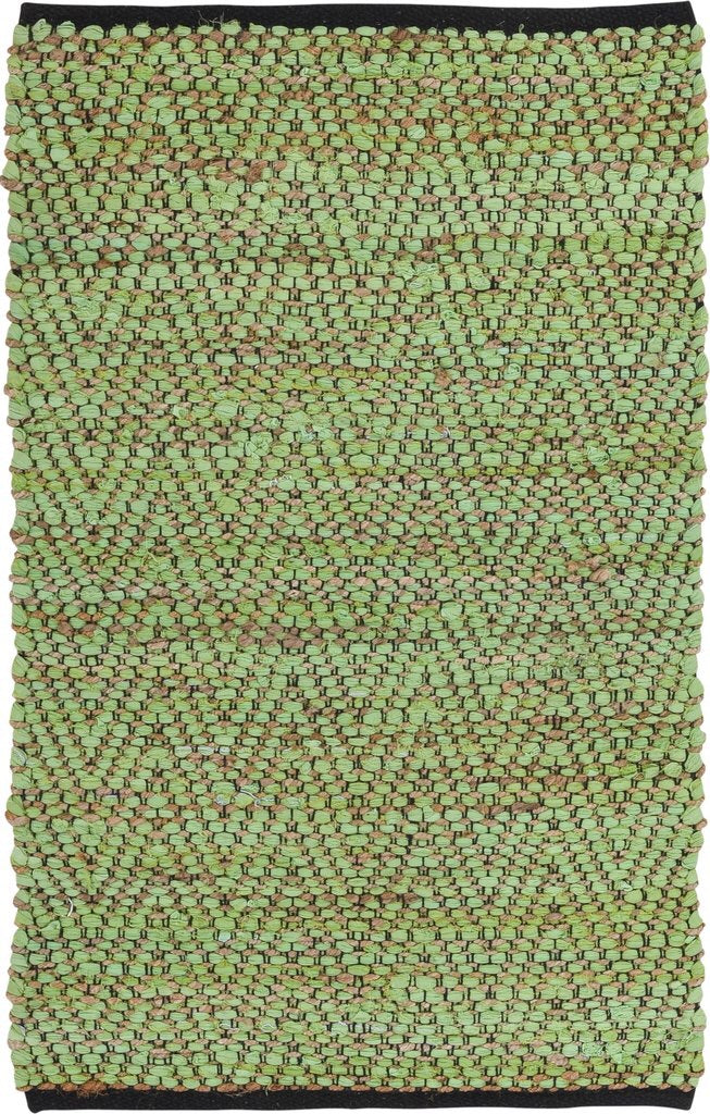Green Cotton and Jute Handwoven Rug