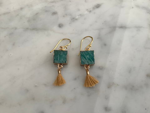 Gold filled earrings with green amazonite squares and brown mini tassels