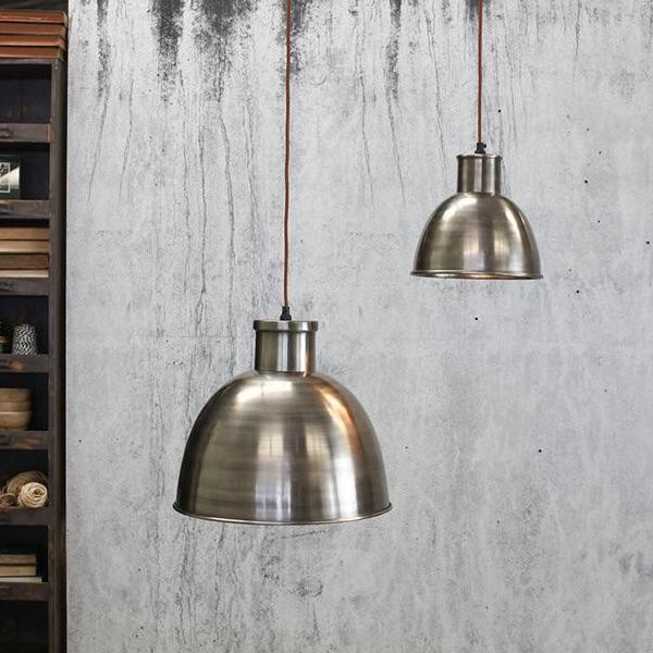 Aged silver dome lampshade