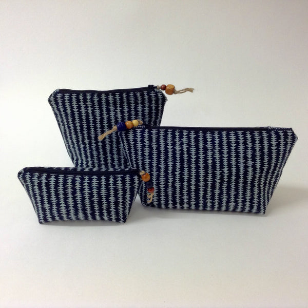 Black and blue grey Cosmetic Bag - Small