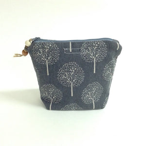 Grey Tree Print Pouch - Medium