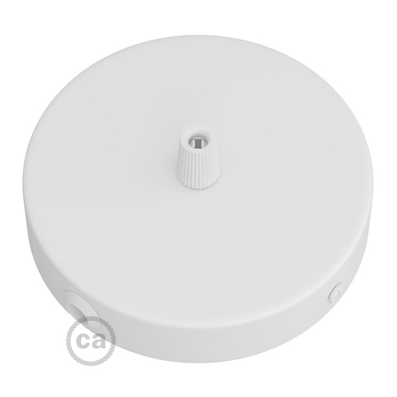 Matt White Ceiling Rose with One Central Hole and 2 Side Holes