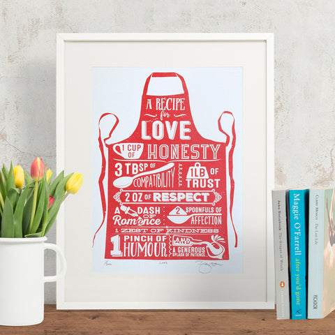 Love recipe apron print