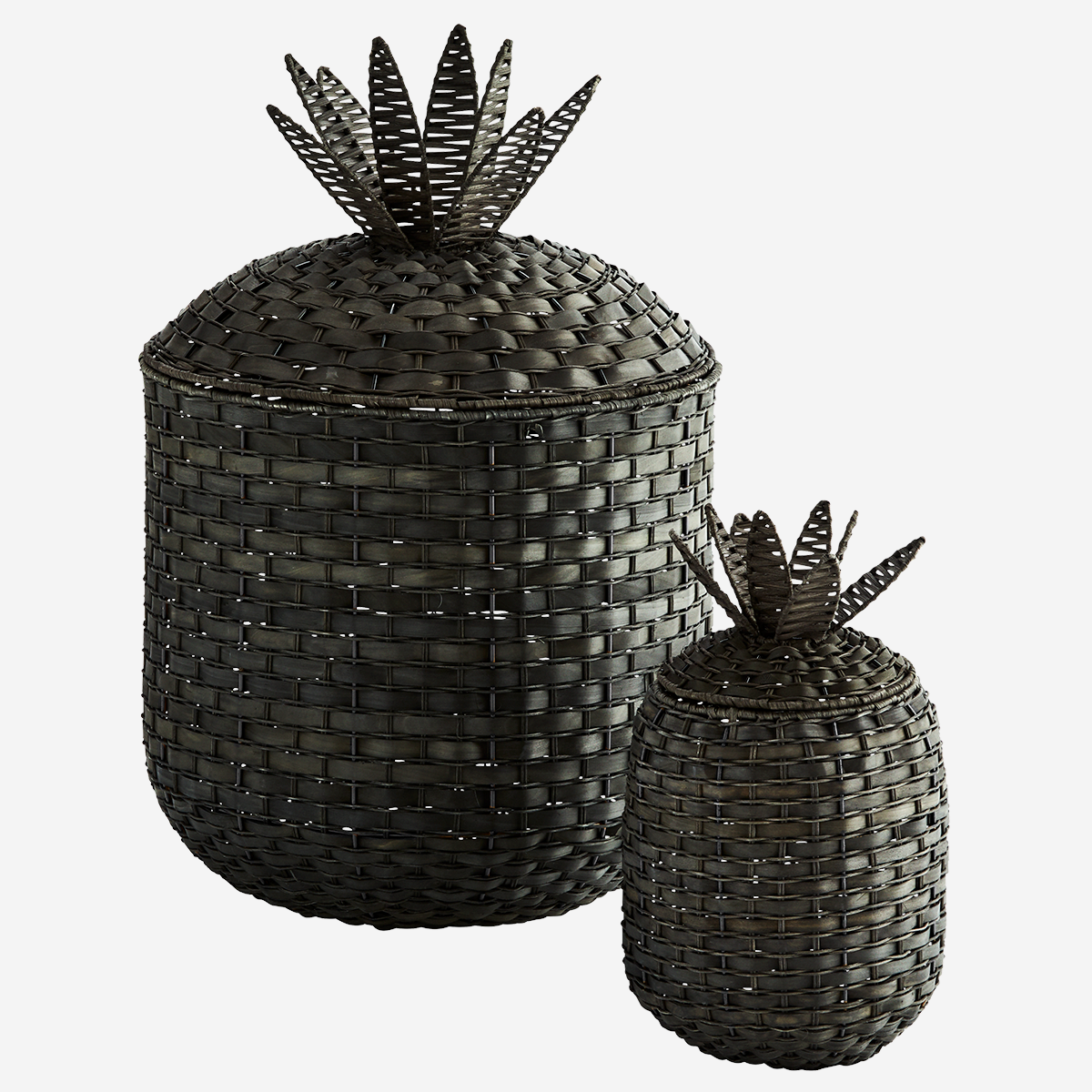 Large Rattan Pineapple Basket With Lid Black