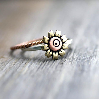 Artisan Sunflower Stack Rings- Yellow Sunflower Ring Set- Sterling Silver Stack Ring-Womens-LittleGreenRoomJewelry