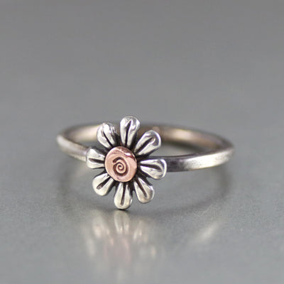 Petite White Daisy Sterling Silver Ring-Womens-LittleGreenRoomJewelry-LittleGreenRoomJewelry
